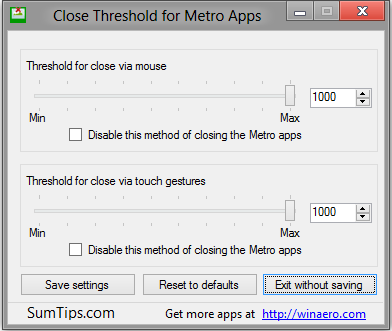 Close Threshold Windows 8