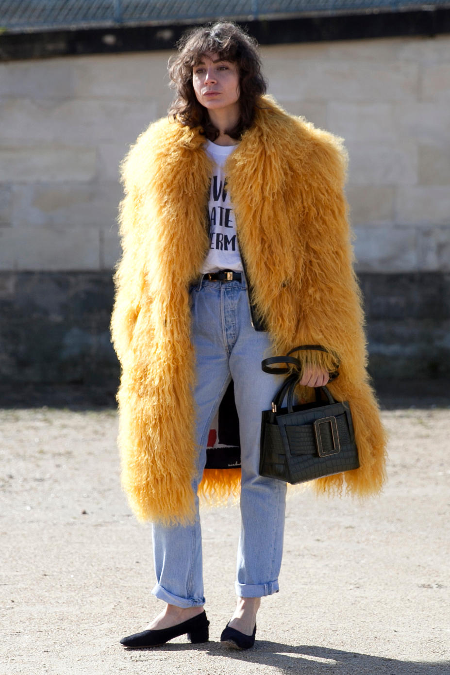 Irina Lakicevic On the street at Paris Fashion Week. Photo: Emily Malan/Fashionista.