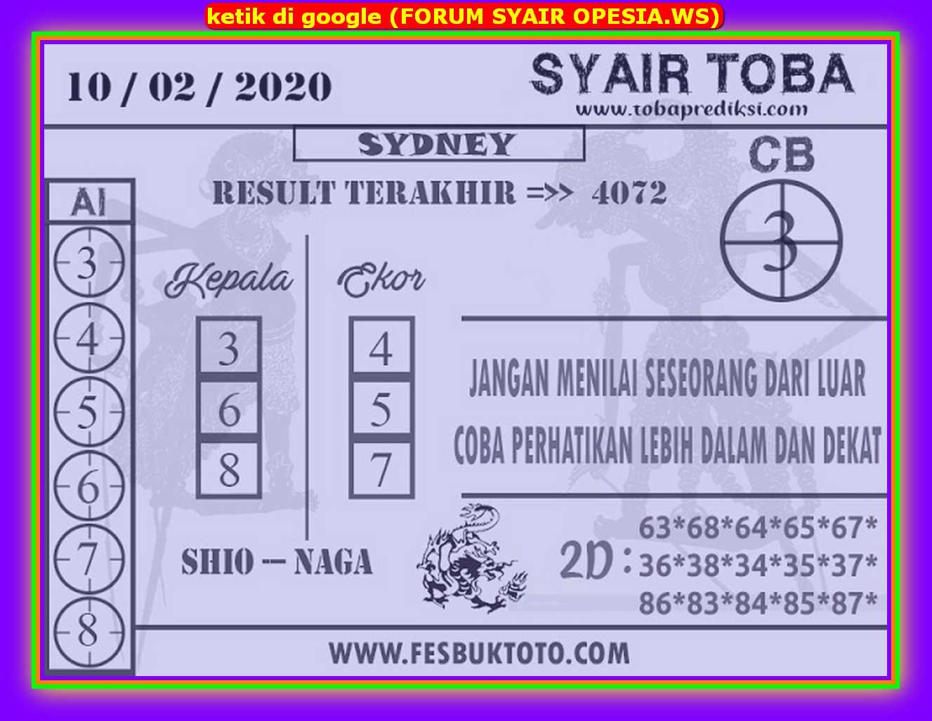Kode syair Sydney Senin 10 Februari 2020 117