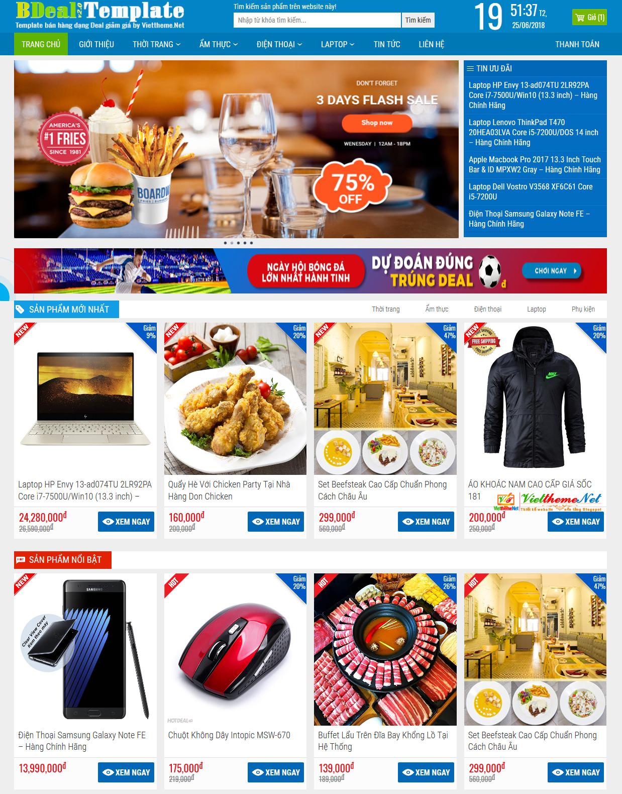 BDeal v2 - Blogspot Template bán hàng online dạng deal giảm giá chuyên nghiệp