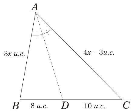 Exercício 2 sobre o Teorema da bissetriz interna