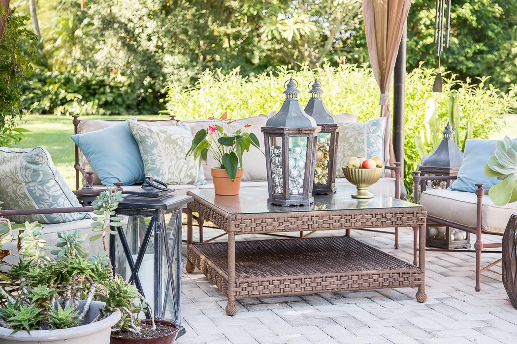 patio entertaining set with pottery barn lanterns