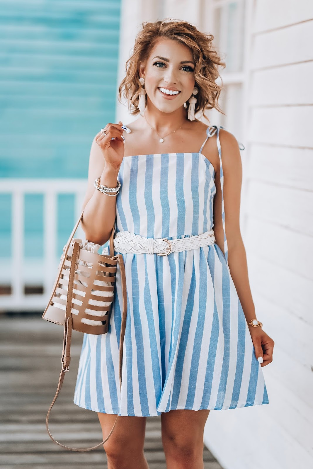 $17 Blue & white Stripe Dress + Recent Amazon Finds - Something Delightful Blog #springstyle #summerstyle #amazon #amazonfashion #amazonfashionfinds #blueandwhite