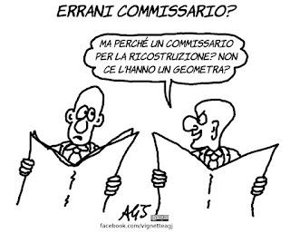 terremoto, errani, commissario, ricostruzione, satira, vignetta