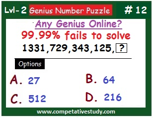 Number Puzzle: Find the missing number: 1331, 729, 343, 125,  ?