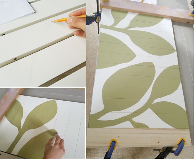 using green and white paint for door mat