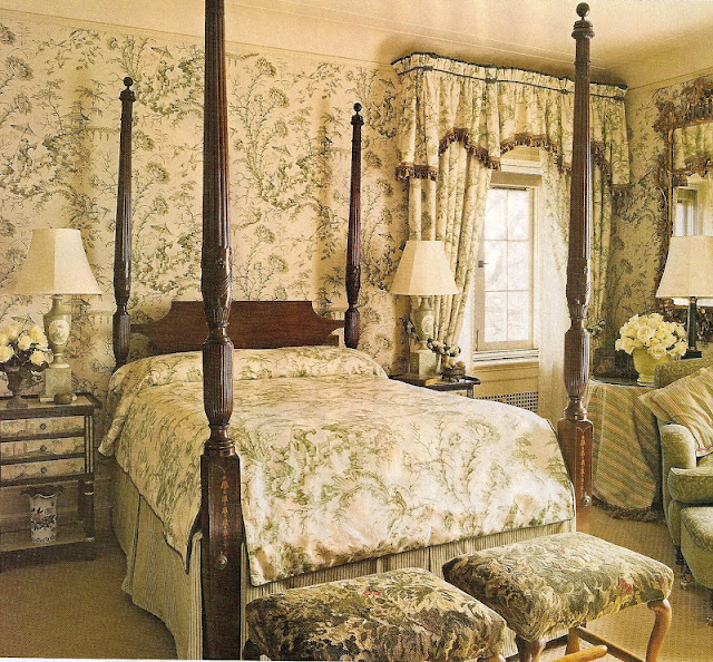 Bedroom Decorating Ideas Totally Toile: Green, Serene