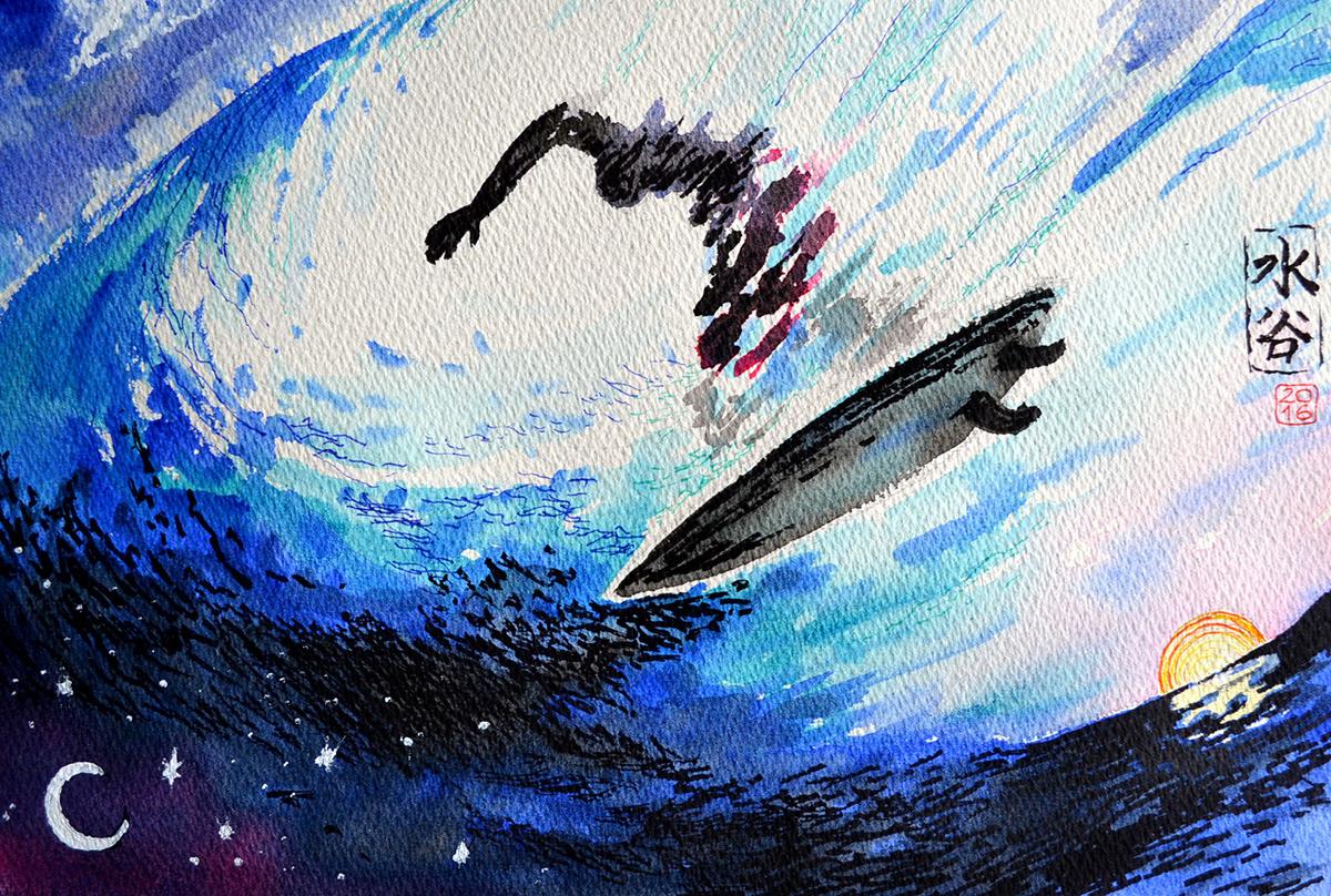 El surf de acuarela de Luis Mizutani