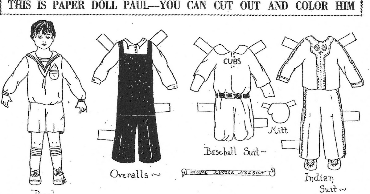 Mostly Paper Dolls: Paper Doll Paul, 1931