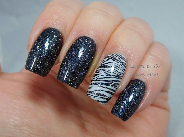 Cosmic Zebra (Spellbound Nails Floo Powder over Tom Riddle's Diary + UberChic Beauty Out Of Africa)