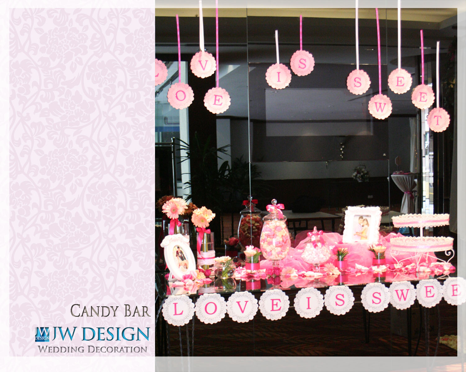 jw design wedding decoration candy bar. Black Bedroom Furniture Sets. Home Design Ideas