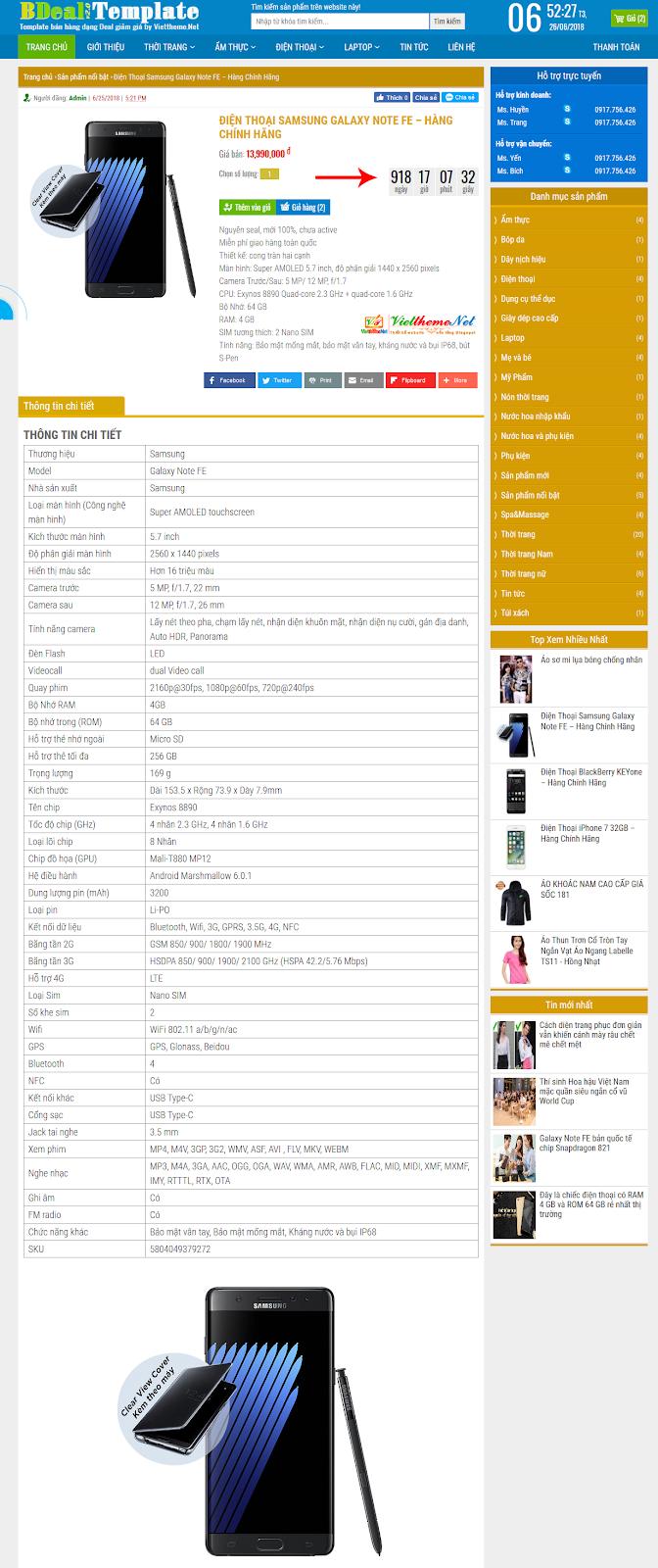 Giao diện trang chi tiết sản phẩm