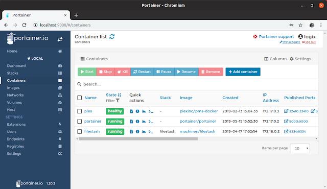 Portainer Docker GUI web-based