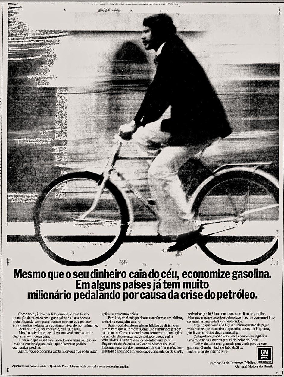 Campanha da GM na metade dos anos 70 para reduzir o consumo de gasolina