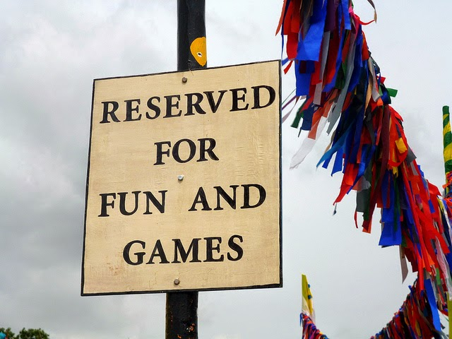 sign for fun and games glastonbury