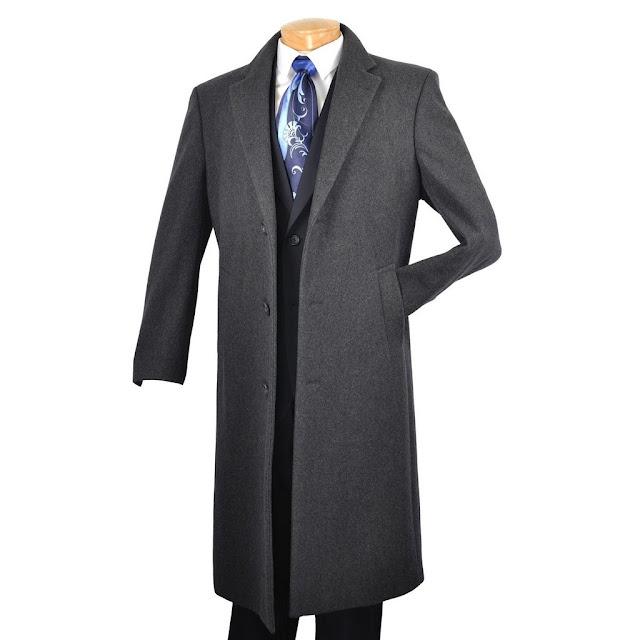 """Winter Fall Essentials Men's Dress Top Coat 48"""" Long in Charcoal - 50 Regular /Charcoal"""