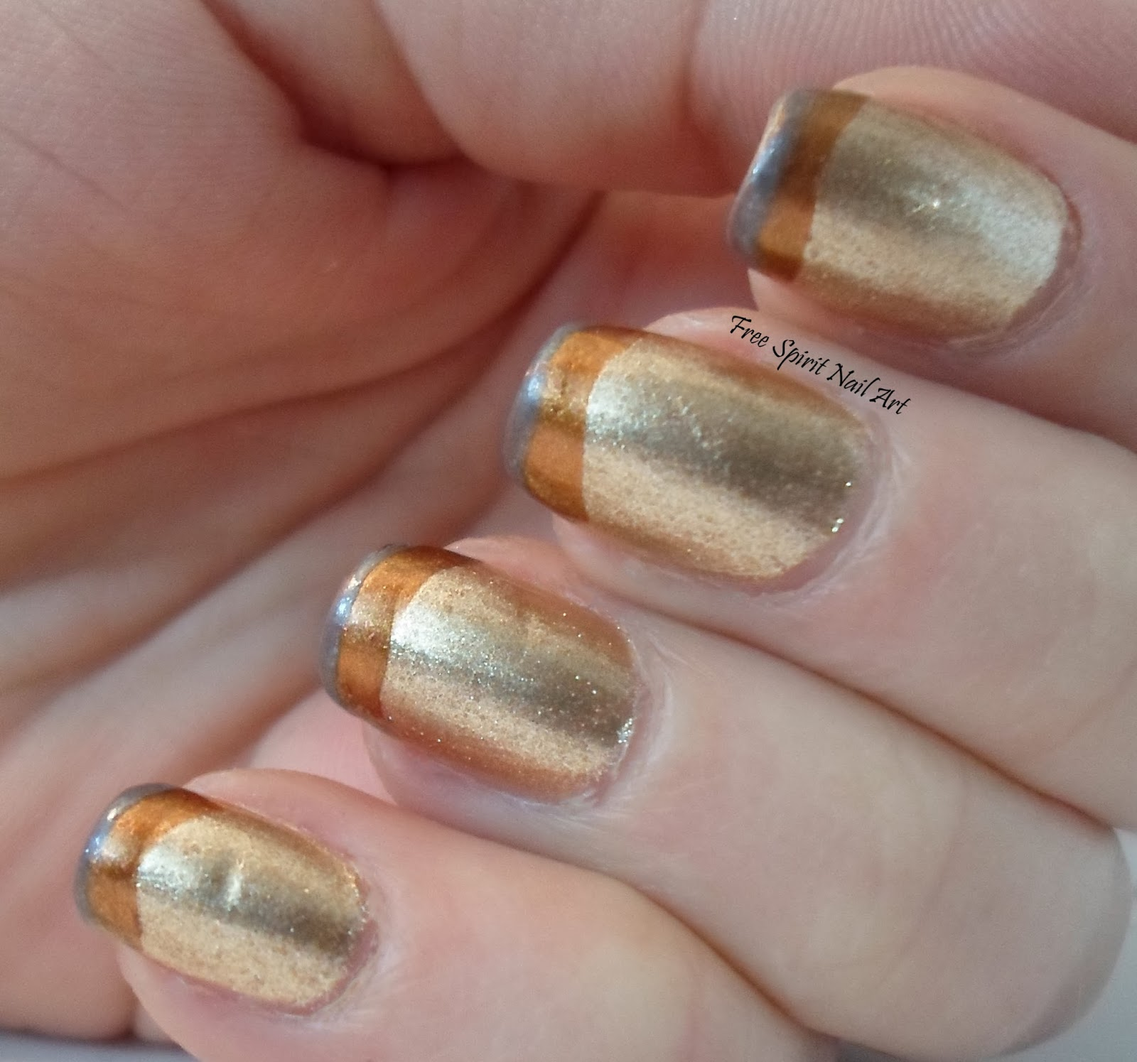 Free spirit nail art gun show nail art i did two coats of sally hansen golden i and let it dry i then painted a wide tip with essie leggy legend which is the copper color then a final thin tip prinsesfo Image collections