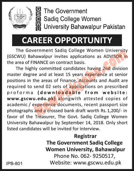 Govt Sadiq College Women University Required Finance Advisor