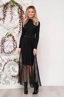Rochie SunShine neagra eleganta scurta tip creion din material tricotat reiat cu suprapunere cu voal plisat