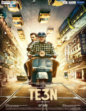 Poster Of Te3n 2016 Hindi 400MB DVDRip 480p ESubs Watch Online Free Download Worldfree4u