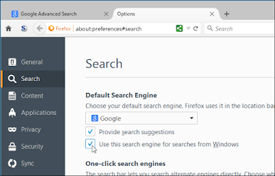 Use this search engine for searches from Windows