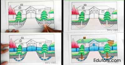 Cara mewarnai gambar rumah denga oil pastels