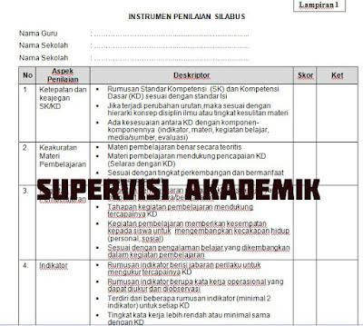 Contoh Format Supervisi Akademik KTSP dan K-13