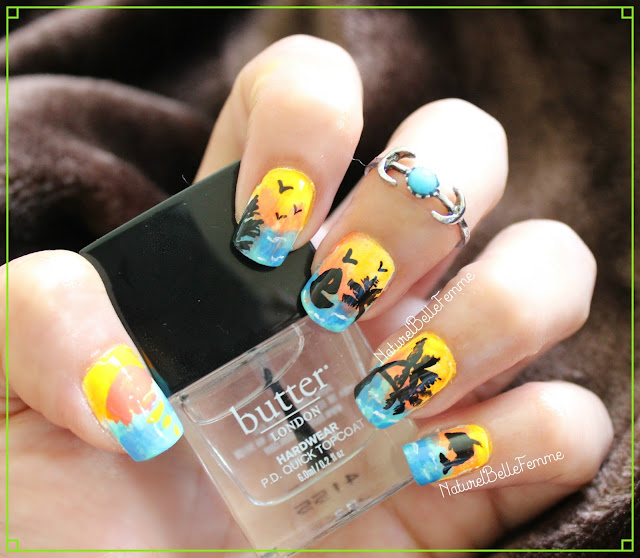 Sunset beach manicure