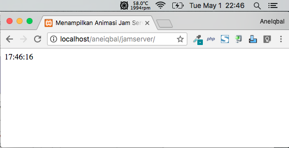 cara menampilkan animasi jam server php javascript