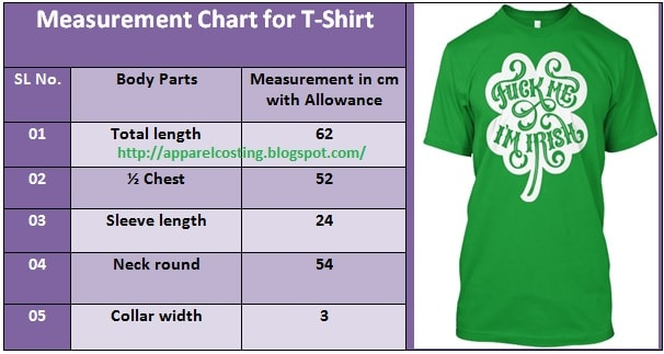 Fabric consumption method for T-shirt in apparel industry