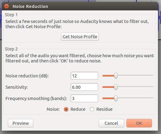 Get Noise Profile Enable to Noise Reduction