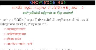 भारतीय राष्ट्रीय आन्दोलन से संबंधित प्रश्न , भाग - 2