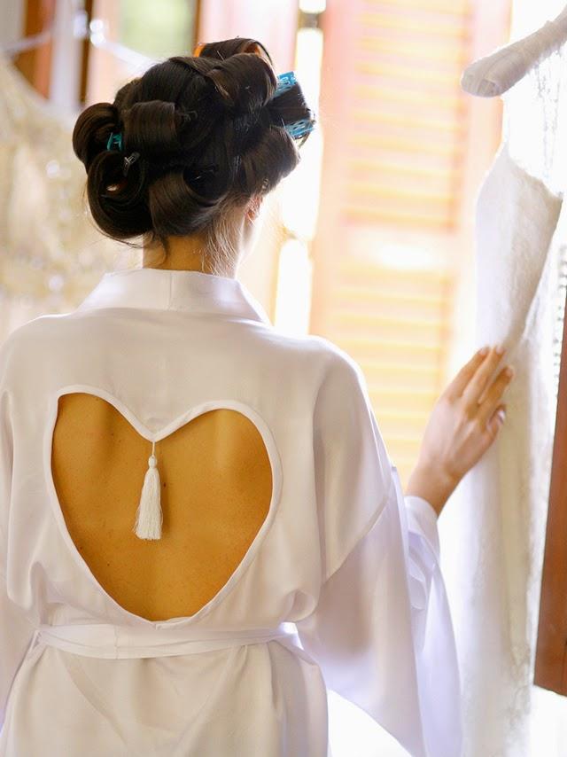 Casamento - Dia da Noiva - Robe de Cetim Coração