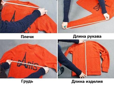 Измерение предмета гардероба