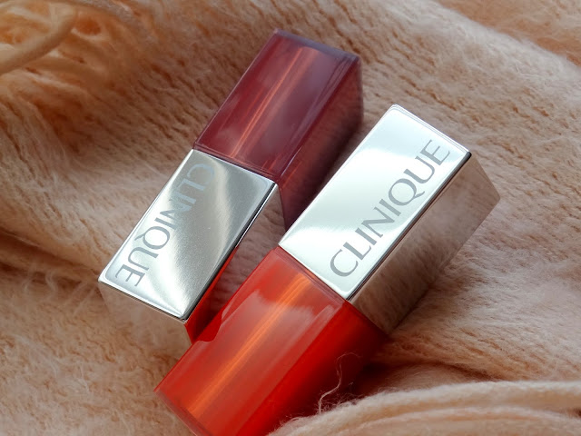Clinique Pop Glaze Sheer Lip Color + Primer in Melon Drop Pop and Sugar Plum Pop