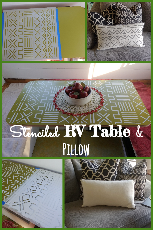 Stenciled RV Table & Pillow