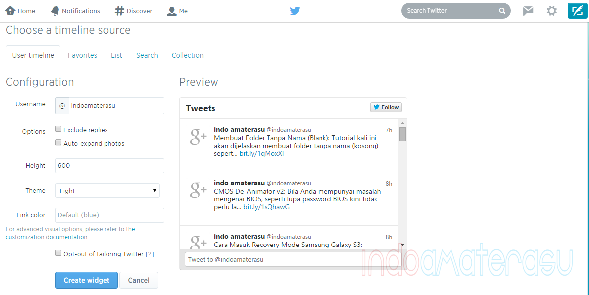 Memasang Tweet Twitter di Blog/ Website 3