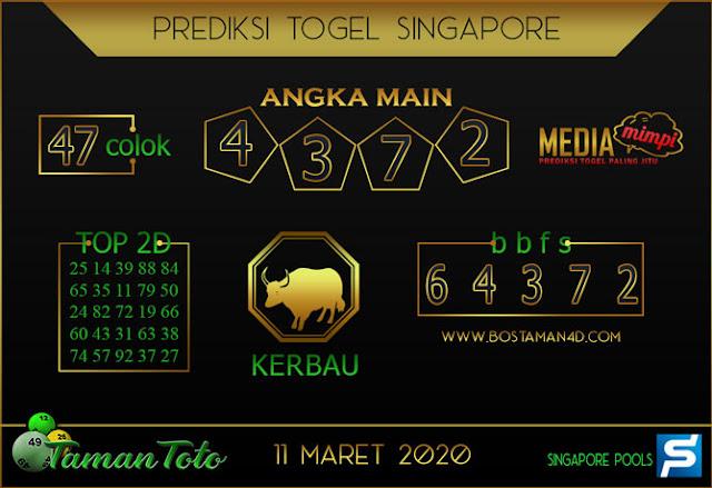 Prediksi Togel SINGAPORE TAMAN TOTO 11 MARET 2020