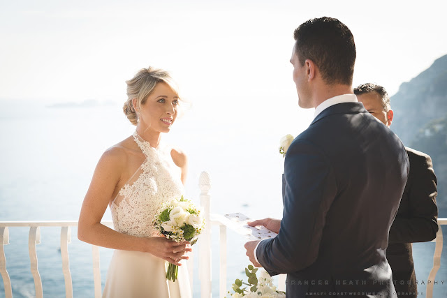 Wedding vows at Villa Oliviero in Positano