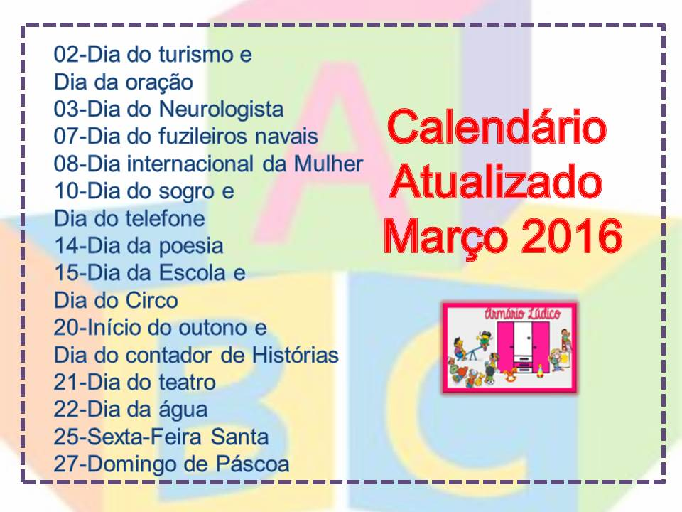 Favoritos Blog da Pró Lucinete : Datas comemorativas de Março 2016 BB15