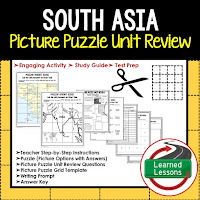 South Asia, World Geography Picture Puzzle BUNDLE, Test Prep, Unit Review, Study Guide