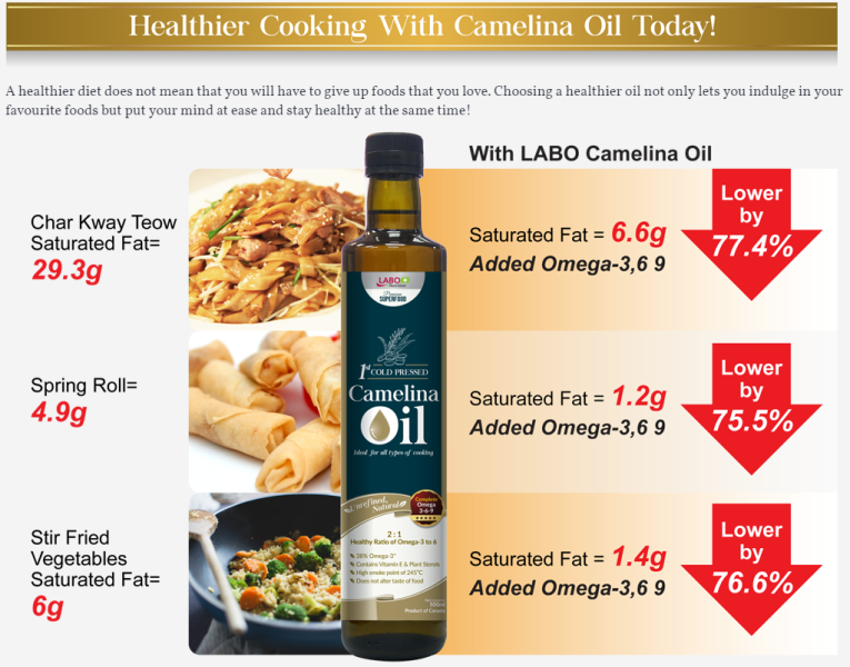 healthy cooking with labo camelina oil promotion