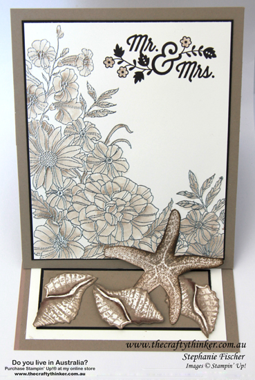 SU, Easel Card, Corner Garden, Picture Perfect, Starfish, shells, By The Tide, Wedding card