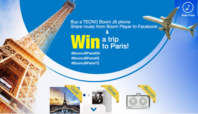 Win a Trip to PARIS with your Tecno Boom J8
