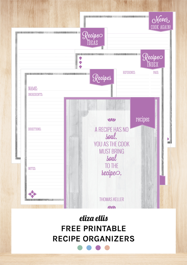 Free Printable Recipe Organizers by Eliza Ellis