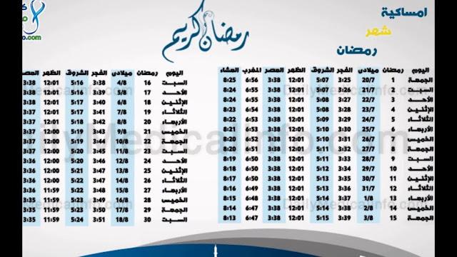 أضافة إمساكية رمضان 2018 عدد أيام شهر رمضان وطول اليوم في مصر - السعودية - العراق - الإمارات