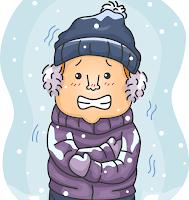 寒さに震える男の子のイラスト