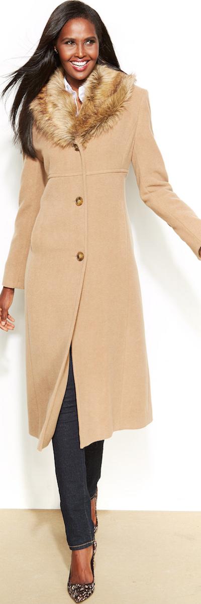 Collar Faux York New Jones Fur Walker Coat