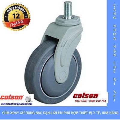 Bánh xe cao su càng nhựa ty ren Colson chịu lực 70 ~ 100kg www.banhxeday.xyz
