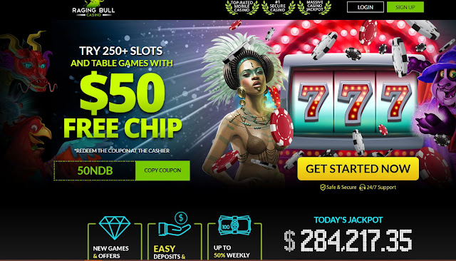 Raging Bull casino $50 no deposit welcome bonus